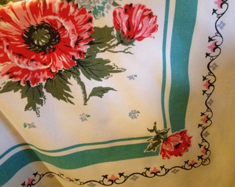Poppy and Lilac Square Table Cloth