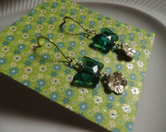 Glass Butterfly and Silver Posie EARRINGS, dangle