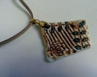 Garden Trellis handmade Porcelain Pendant necklace, OOAK