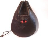 Brown Dragon eye  leather runes coin dice pouch bag belt pouch Fantasy Medieval Celtic