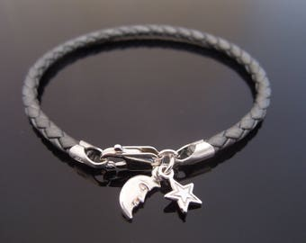3mm Grey Braided Leather Bracelet With 925 Sterling Silver Star & Moon Charm