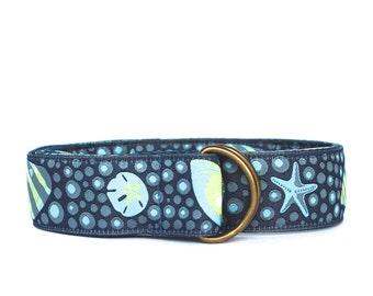 Women's Ribbon Belt | Sea Shell Ribbon Belt (Blues & Greens)