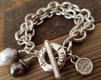 Bold .925 Sterling Silver Genuine AA Tahitian Pearl Bracelet - Rustic Bold Dangles VIII