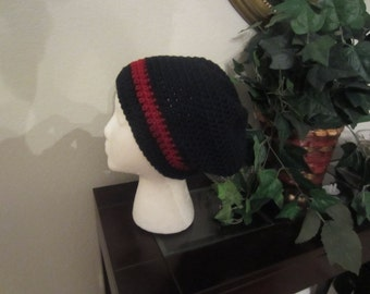 Crochet Black And Red Stripe Beanie Slouchy Hat