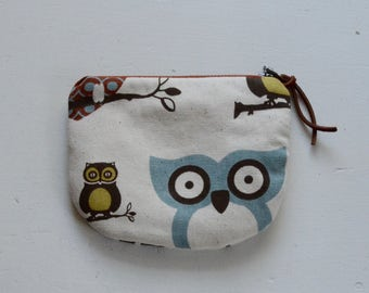 Hootie Owls Padded Round Zipper Pouch / Coin Purse / Gadget / Cosmetic Bag - READY TO SHIP