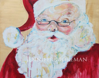 Giclee Print Jolly Santa by Jennifer Moreman