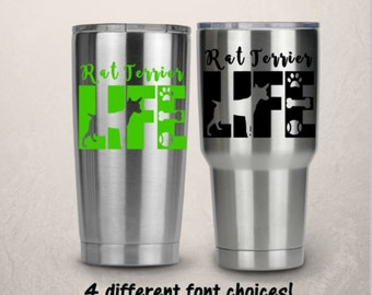 Yeti Tumbler Decal -  RTIC Cup Decal - Rat Terrior Decal -  Pet Decal  - Decals For RTIC Cups, Christmas Gift