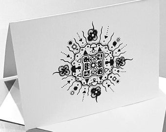 "Greeting card - Abstract pen biological mandala zentangle drawing print - ""Zygotron"""