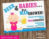 SALE SALE SALE Man Shower Beer and Babies Diaper Party Invitation - 1.00 each with envelope