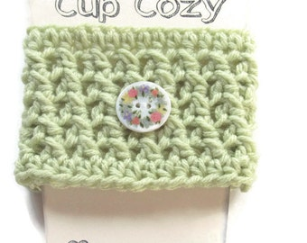 Crocheted Soft Green Coffee Cup Cozy - Crocheted Sage Cup Sleeve - Crocheted Cup Warmer With Flower Button - Ready To Ship