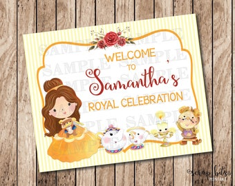 Beauty and the Beast Printable Sign, Personalized Belle Party Welcome Sign, Printable Birthday Sign, Royal Celebration