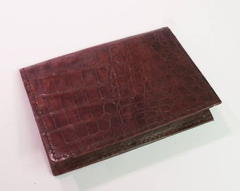 Vintage Brown Leather Card or Id Case organizer 6 pockets