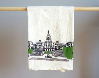 Washington DC Tea Towel.  Capitol Building Illustration. Kitchenwares Dish and Barware. Perfect Housewarming Gift for your D.C. Local