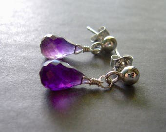 Amethyst Stud Earrings, Small Drop Gemstone Earrings, Argentium Sterling Silver,  Metalsmith Dangle Post Earrings,