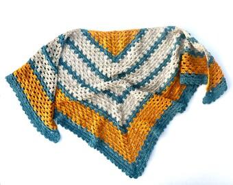 Crochet Triangle Shawl PATTERN - Easy Shawl Wrap - Crochet Triangle Shawl Pattern - A Sunny Day Shawl pattern - triangle scarf