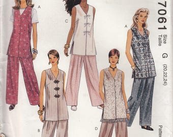 McCall's Uncut Sewing Pattern 7061 Misses unlined vest and pants - size G (20, 22, 24)