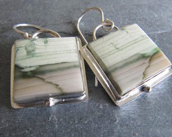 Square Variscite Earrings in Sterling Silver