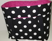 Black & White Polka Dot / Hot Pink Diabetic Supply Organizer Set
