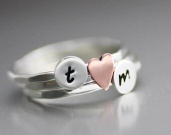 Custom Initial Rings, Heart Stack Ring,  Personalized Silver Rings, Initial Rings, Copper Heart Ring, Custom Stacking Rings, Womens Rings