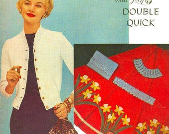 Vintage Crochet Knitting Patterns Handbags Cardigans Slippers Rugs Shrug Pot Holders Hat Place Mats Lily Mills Design e Book Reproduction 75