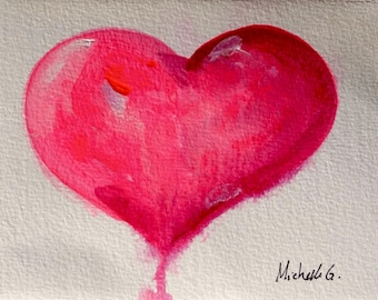 Romantic Gift, Anniversary Gift, Pink Heart, Original Painting, Small Painting, 5 x 7, Home Decor, Gift for Women, Birthday Gift, Under 30