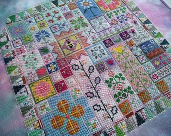 Jane's Joy Petals, Quilt Inspired Cross Stitch PDF Pattern, Carolyn Manning Designs