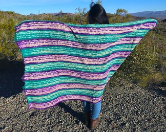 """Two Tone Speckled Purple & Teal Green Tie Dye Vintage African Mud Cloth, 44"""" x 72"""" / Bogolanfini Textile from Mali, West Africa Textiles"""