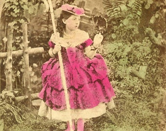 Little Bo Peep - Hand Tinted - Antique 1860s Stereoview