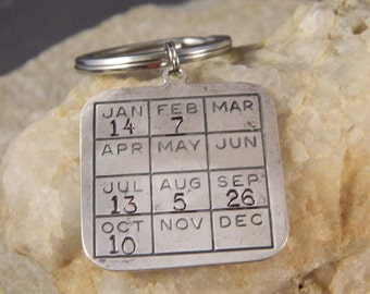 Calendar Keychain Personalized with Date