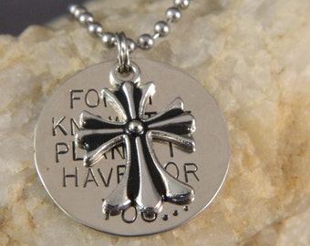 For I Know the Plans I Have for You Fleur Di Lis Cross Necklace