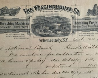 Antique Agriculture Letterhead The WESTINGHOUSE CO.  Threshing Machines and Threshing Engines  -- Free Shipping
