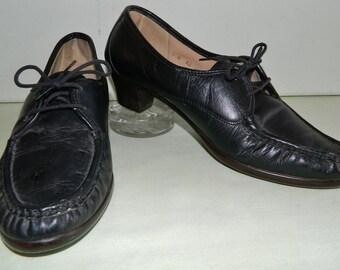 9 M SAS Shoes Black Leather Rubber One Piece Soles SAS Genuine Walking Shoes