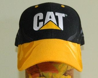 Cat Caterpillar Trucker Cap Embroidered Flames Nice!
