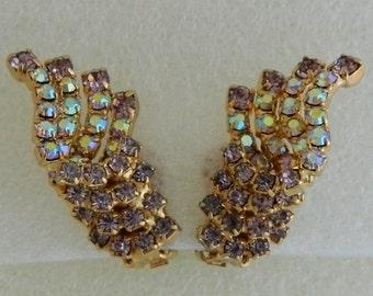 60S Glam Clips D & E Earrings Aurora Borealis Pale Purple Chaton Rhinestones Deliza Elster