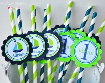 Nautical Party Straws, Nautical Paper Straws, Nautical Birthday Party, Sailboat Party Straws -Set of 12