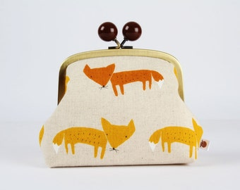Metal frame clutch bag - Cut foxes on natural - Color bobble purse / Japanese fabric / rusty red orange brown fox