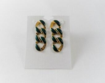Dark Green Enamel Circle Gold Tone Vintage Pierced Earrings