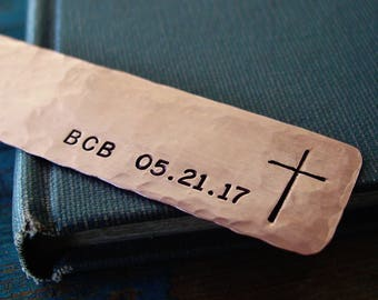 Cross Bookmark,Monogram Bookmark,Customized Date,Religious Gifts,First Communion Gift, Godchild, Personalized, Copper Bookmark, Hand Stamped