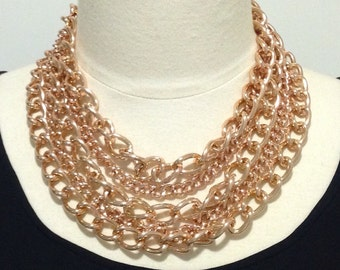 Rose gold chain necklace,multi chain necklace,statement necklace,layered chain necklace