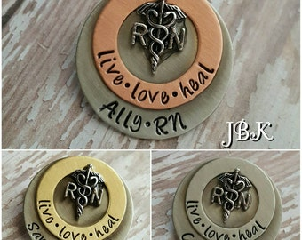 Custom hand stamped, Personalized, JBK, Live Love Heal Nurses Pin rn lpn lvn pa np cna pt ma