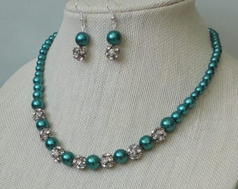 ON SALE Pick Your Color BRIDESmaid Gift Teal Pearl RHINEstone BRIDAL Maid Of Honor WEDDing Mother Of Bride Teal Necklace Set By DYEnamite