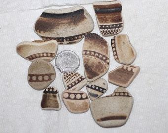 AWESOME EARTHTONE POTTERY Shards Jewelry quality beachglass pottery zy346