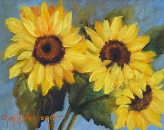 Sunflower Still Life Painting,SUNFLOWER Triplet,Small Original Oil Painting by Cheri Wollenberg