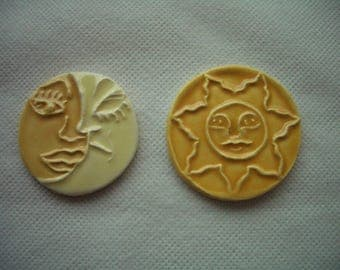 J2 - SUN and ECLIPSE Tile Pair -  Ceramic Mosaic Tiles Set