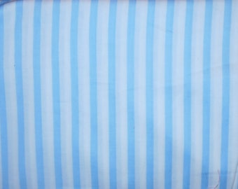 BTY white light blue stripes baby blue fabric cotton