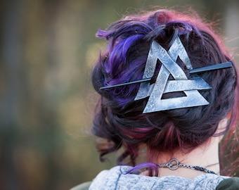 Viking Valknut Leather Hair Barrette , SCA, LARP, Steampunk, Reniassance, Pirate