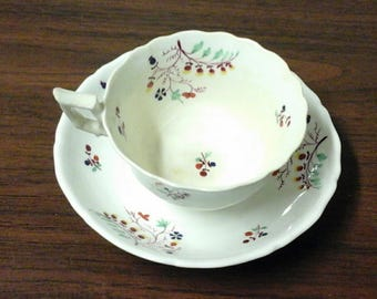 Staffordshire Sprig Porcelain Teacup and Saucer