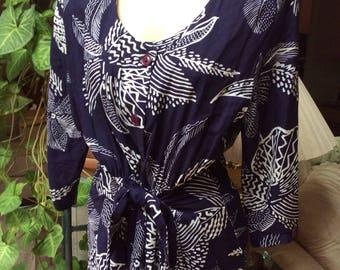 Vintage 80s navy blue white print tie front dress, wide shoulder navy blue white Hawaiian print day dress, navy blue white print shirt dress