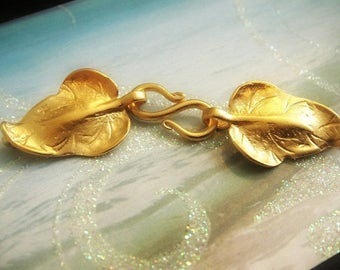 Gold Vermeil Leaf Clasp, Bali Leaf Hook  Clasp- 55x14 mm