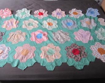 Vintage 1930s/40s Colorful Cotton Feedsack Grandmother's Flower Garden Quilt Top